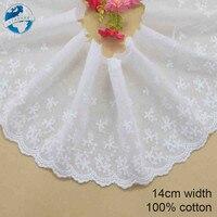 14cm blanco 100% algodón bordado encaje tela de broderie francés guipur diy adornos de punto de urdimbre accesorios de costura #3299