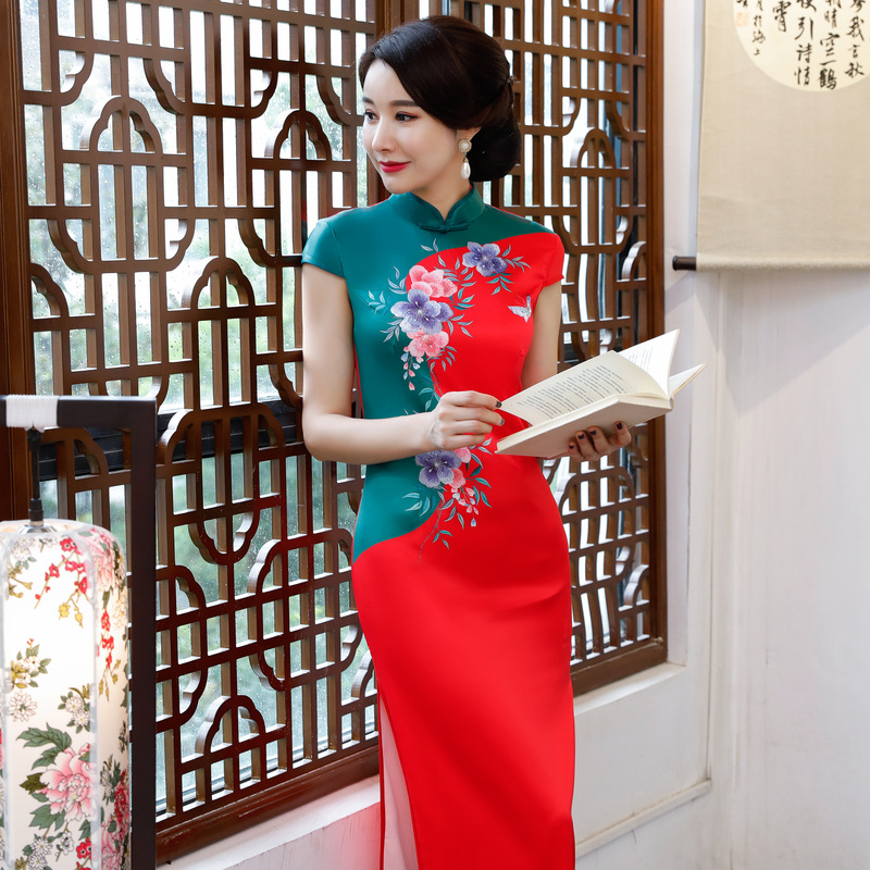 Bouton yellow Robe yellow De red 4xl blue Partie Femmes Qipao Robes green purple Summer Pink Taille hot Cheongsam La Mode Mince Chinois Long Style 2018 Hot Lady Pink Rayonne S 80PwknO