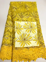 New African lace fabrics, high quality diamond embroidery nets, French tulle lace fabrics, yellow sewing dresses