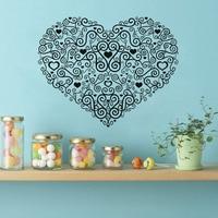 Fashional Swirl Flower Pattern Wall Decals Beautiful Heart Decorations Living Room Sticker Bedroom Wall Stickers Kids Room Decor