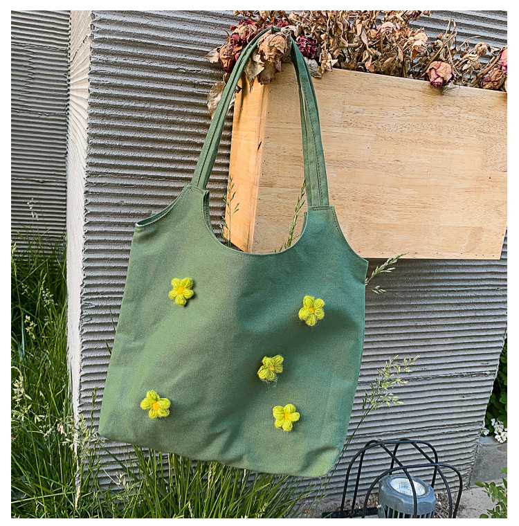 Oriental Element Canvas Shopping School College Tote Shoulder Bag Large Capacity with Young Flower Embroidery