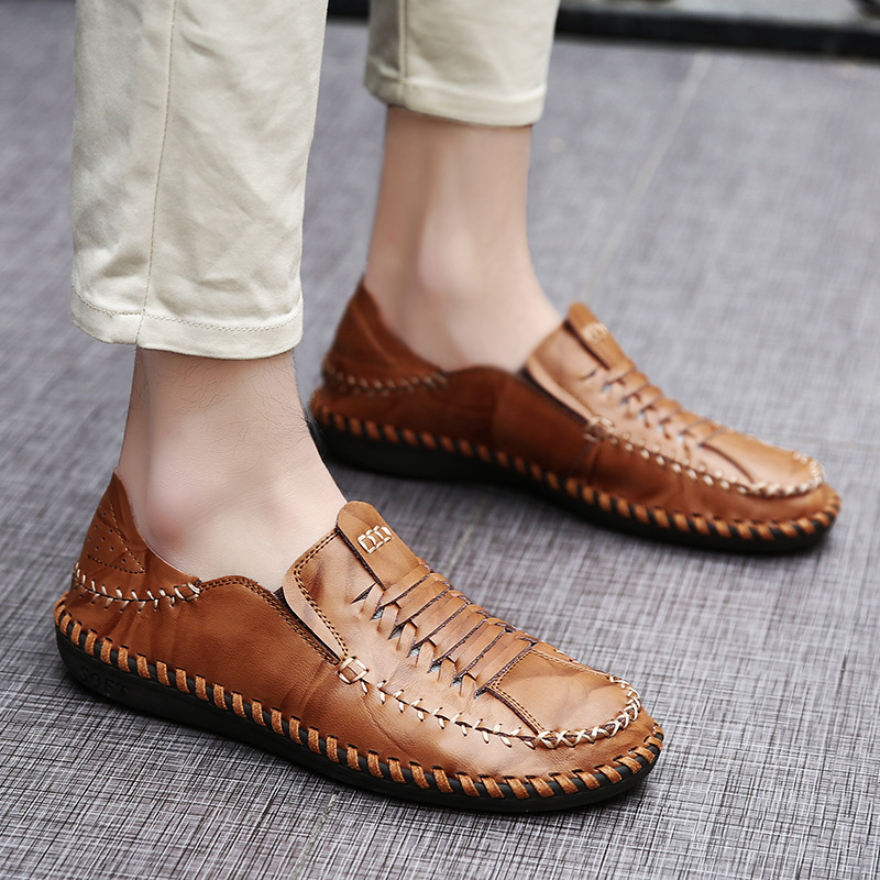 Luxury Brand Handmade Men's Boat Shoes Genuine Leather Loafers Fashion Designer Men Flats Slip on Driving Shoes Breathable 8 british slip on men loafers genuine leather men shoes luxury brand soft boat driving shoes comfortable men flats moccasins 2a