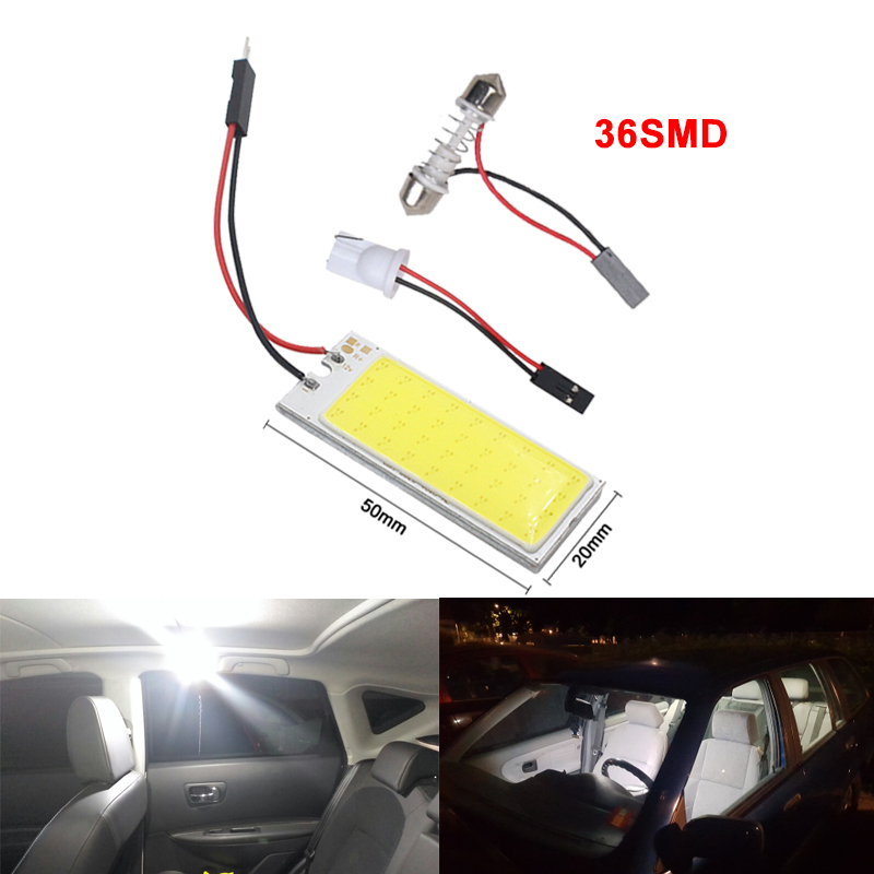 Image 3 - 2x Car C5W LED COB Bulb Fstoon Interior Dome Reading Light T10 W5W Auto Luggage Trunk License Plate Lamp Super Bright Whit 12V-in Signal Lamp from Automobiles & Motorcycles