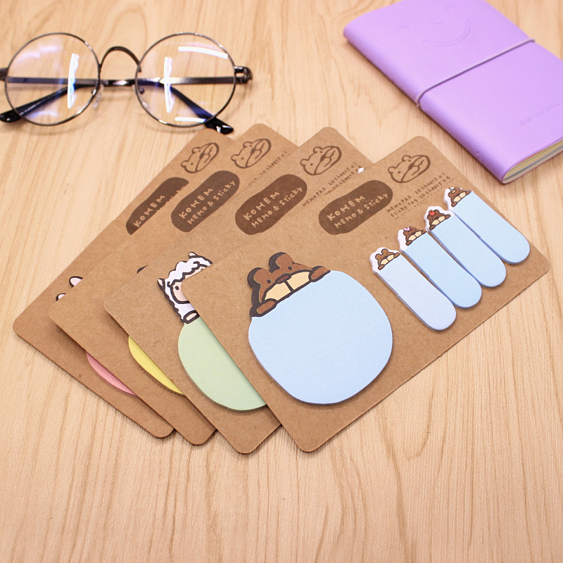 Kawaii Animal Sticky Notes Post It Stickers Scrapbooking Diary Stickers Planner Memo Pads Office Stationery and School Supplies 200 sheets 2 boxes 2 sets vintage kraft paper cards notes notepad filofax memo pads office supplies school office stationery
