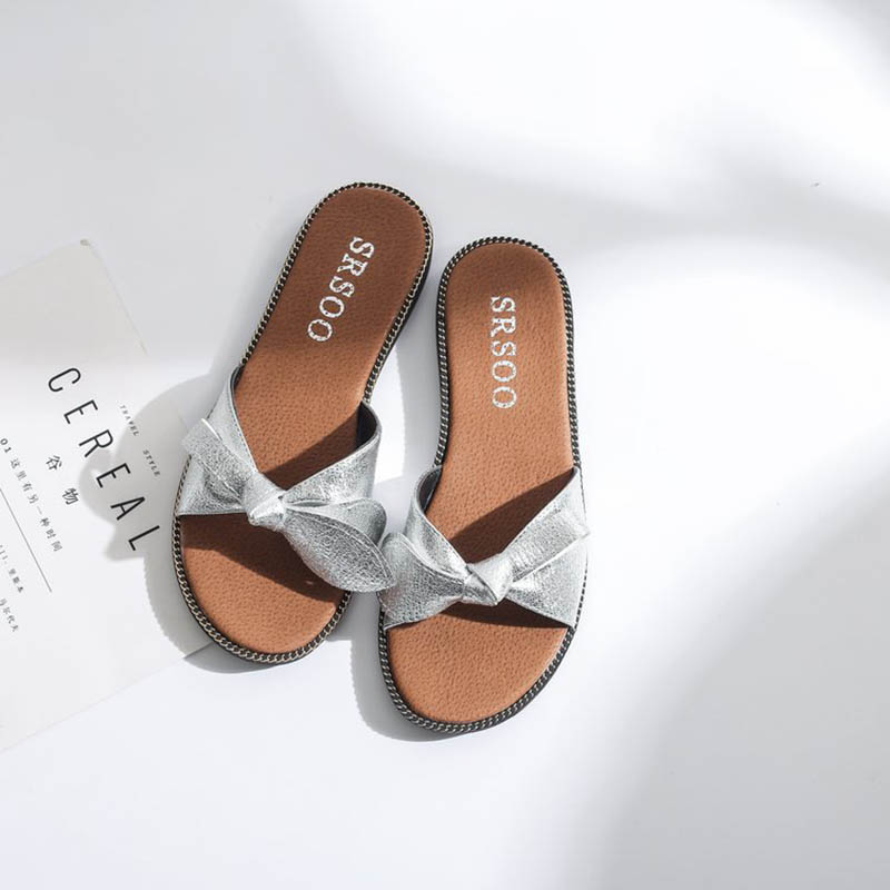 New Women Bow Slippers Hemp Fabric Bowtie Slides Rubber Flat Sandals Home  Slippers Casual Big size Women shoes-in Slippers from Shoes on  Aliexpress.com ... 599d03a717e9