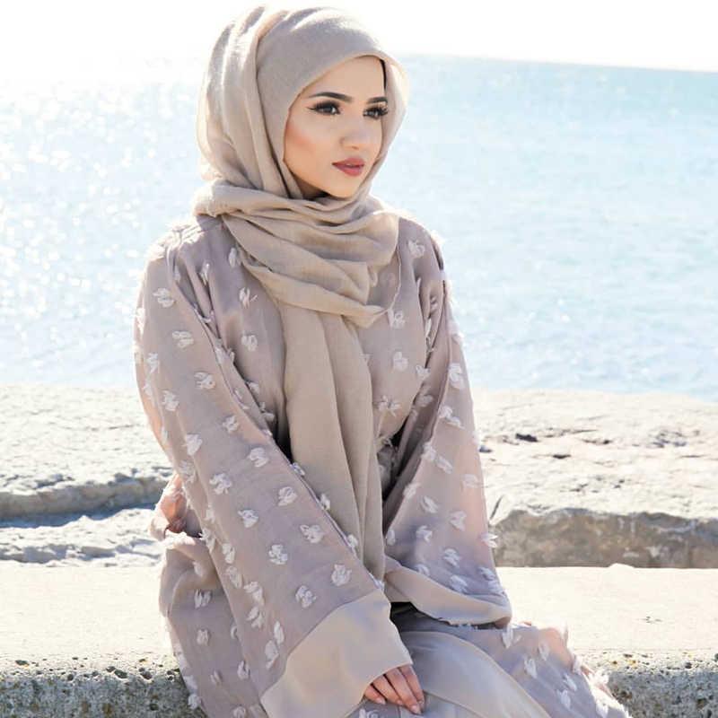女性のための 2019 アバヤ Abayas ドバイイスラム花カーディガンイスラム教徒ドレスカフタン Marocain ヒジャーブドレストルコイスラム服