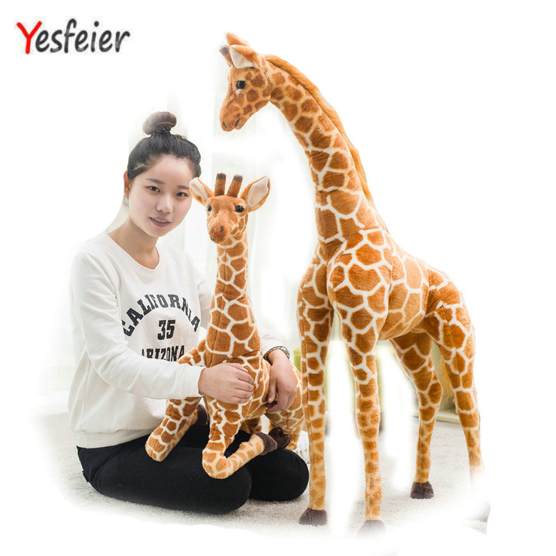 80cm Soft Simulation Giraffe Plush Toys Cute Stuffed Animal Doll Home Accessories High Quality Birthday Decoration Gift Kids Toy recur toys high quality horse model high simulation pvc toy hand painted animal action figures soft animal toy gift for kids