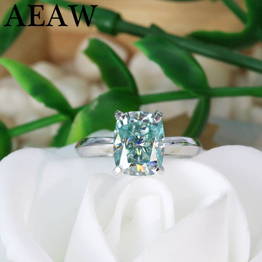 Green Blue Cushion Cut Moissanite Centre Stone 3ct 7x9mm Moissanite Engagement Ring Silver Or White Gold