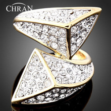 Chran Unique Design Gold Color Crystal Finger Rings Elegant Women Charm Promised for