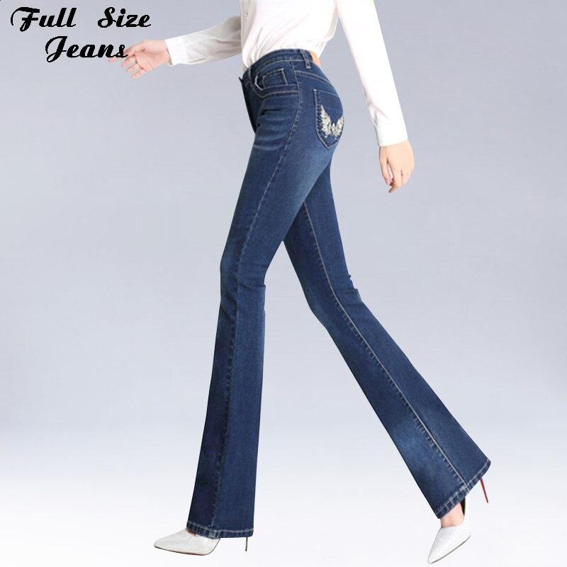 Spring High Waist Embroidery Pockets Flare Jeans Plus Size Stretch Skinny Pants 4XL 3XL Women Wide Leg Slim Hip Denim Boot Cuts