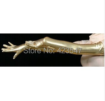 Free Shipping pale gold Shiny Metallic Accessories Zentai Gloves Party Halloween Adult Costumes