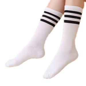 b930b83fe17ce Sexy Striped Long Thigh High Black White Knee Socks Women