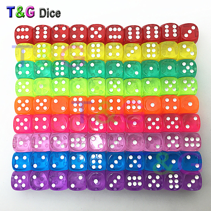 10PCS Transparent 14mm Gaming Dice Standard Six Sided Decider Die RPG For Parties Toys Blue Purple Oink Orange Yellow Green.