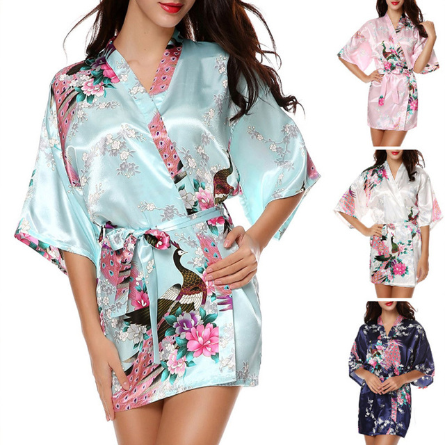 68ed14331f Summer Kimono Robes For Women Satin Bathrobe Short Silk Robes For  Bridesmaids Longue Female Women Dressing Gown Bridesmaid Robe