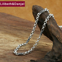 4mm Bamboo Necklace 100% 925 Sterling Silver Chain Fashion Necklace Men Fine Jewelry GN20