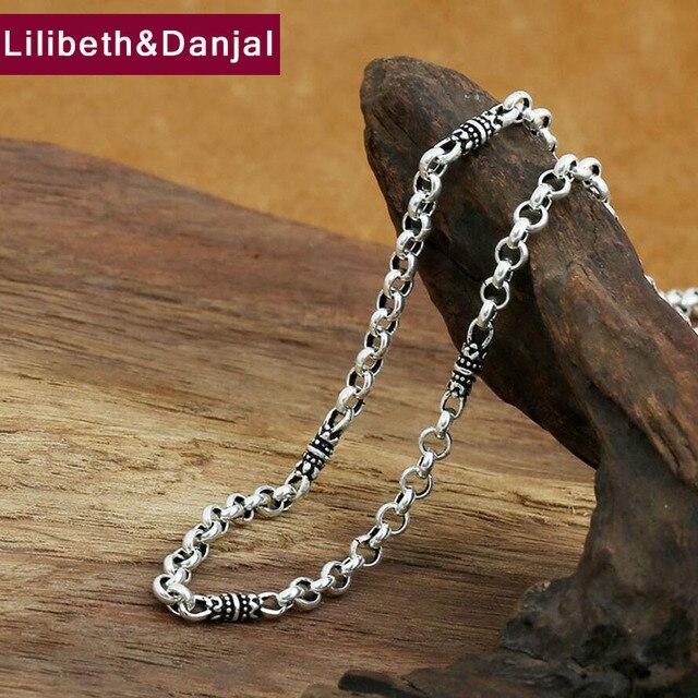 4mm bambusowy naszyjnik 100% 925 srebrny łańcuszek modny naszyjnik mężczyzn biżuterii GN20