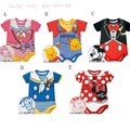 fashion baby girls short sleeve cartoon white snow rompers + headwear cute infant cotton clothes kids clothing wear 3pcs/lot