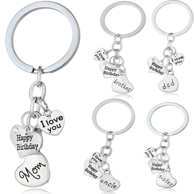 Mom Dad NANA Aunt Sister Son Grandpa Happy Birthday Family Key Chain Ring Heart Crystal Keychain Silver Keyring Jewelry Charm skull necklace raven skull