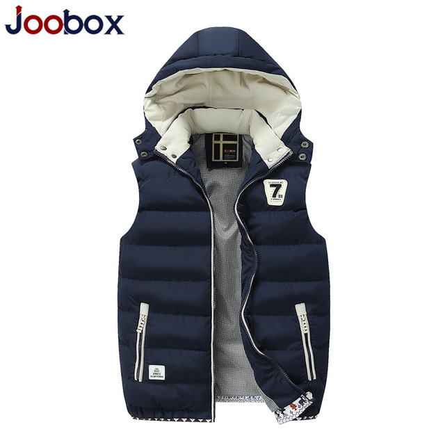 JOOBOX Brand Vest Men 2016 Autumn winter Thickening Hooded Waistcoat Sleeveless Jacket Men Fashion Silm chaleco hombre
