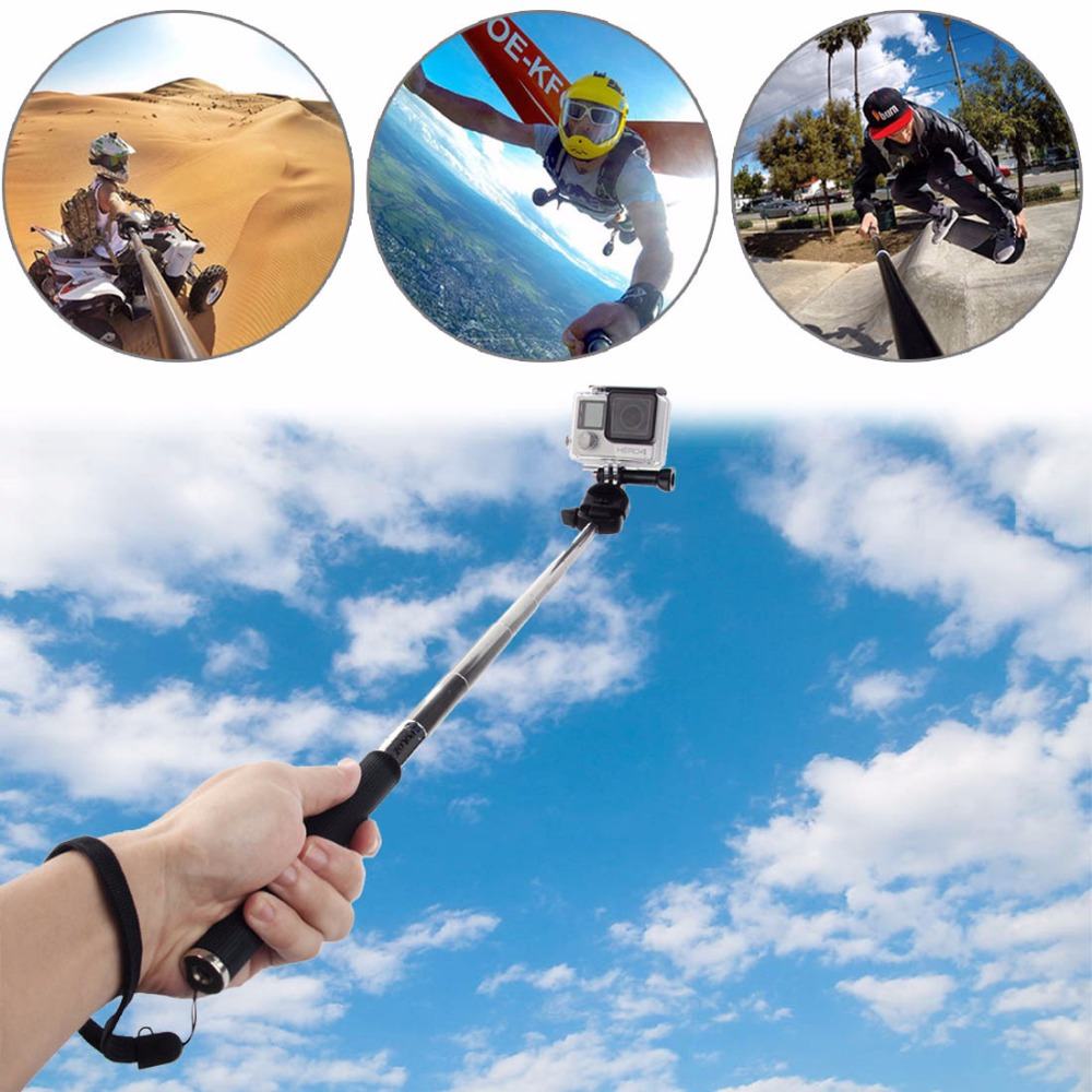 Selfie Stick With Phone Holder Bluetooth Remote for Smartphone Extendable Monopod Tripod adaptor mount for GoPro Hero Cameras