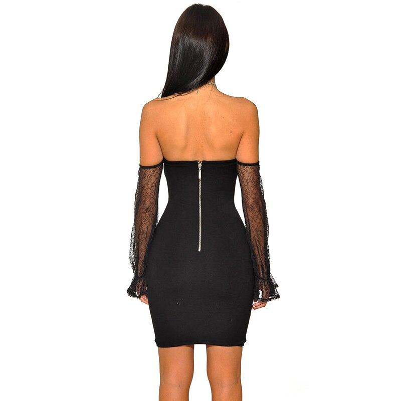 2018 Для женщин осень пикантные черные сапоги без бретелек сетки платье клуба с плеча рукав стрейч повязку мини платье - 3