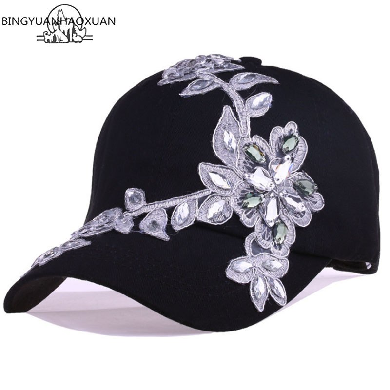 BINGYUANHAOXUAN 2018 Women Variety Rhinestones and Crystal Shiny Studded Cotton Denim Visor Hat Bling Adjustable   Baseball     Caps