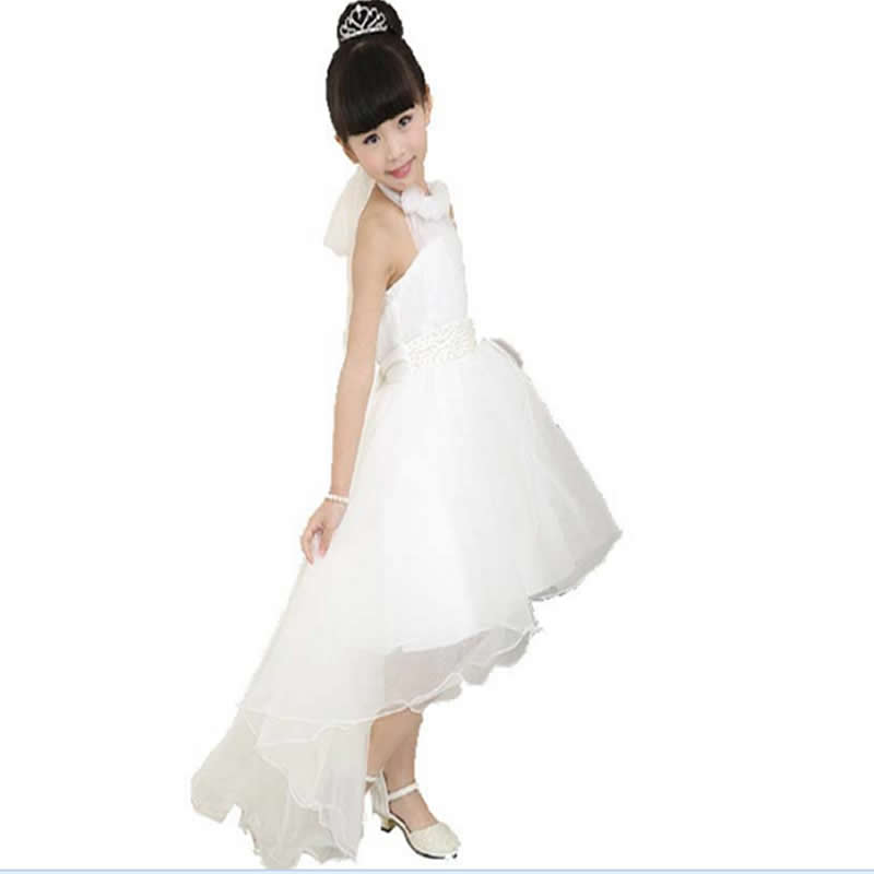 9a2f8a6f4 € 11.02 21% de DESCUENTO|Niñas vestido blanco cola irregular medio Niñas  traje para niños Jacobs ropa burbuja vestidor Niñas ropa en Vestidos de ...