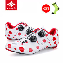 Santic Mens Cycling Shoes Road Bike Shoes Breathable Scarpe Ciclismo Strada Carbon Fiber Sole Professional Bicycle Lock Shoes