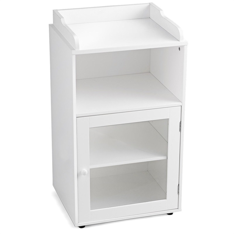 Bathroom Adjustable Floor Storage Cabinet Shelf with Door Waterproof 2-tire White Cabinets Furniture HW59316