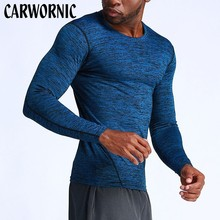 CARWORNIC Long Sleeve Fitness Gyms T-shirt Men Solid Quick Dry Breathable T Shirt Men's Bodybuilding High-elasticity T-shirt stretchy quick dry long sleeve t shirt