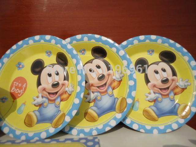 Festa Little Mickey mouse 12 boy kids birthday party decoration baby shower blue it\u0027s a boy : mickey mouse cake plates - pezcame.com