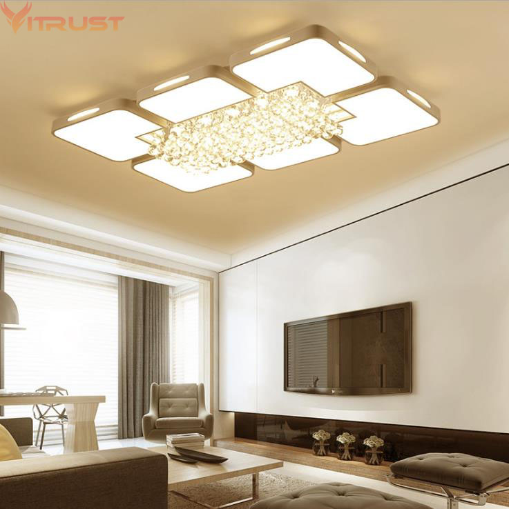 VITRUST Modern Crystal Ceiling Lamps Lighting Fixture Plafonnier led Moderne Lamparas de techo Flush Mount Living Room BedDining bdbqbl modern simple creative iron wall lamp led bedroom bedside living room lighting fixture lamparas de techo pared