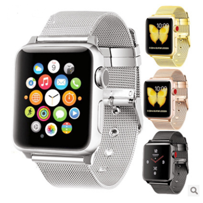 Applicable To For Apple Watch Strap Fine Mesh Milan Nice Button Bracelet For Iwatch Metal Watch Strap