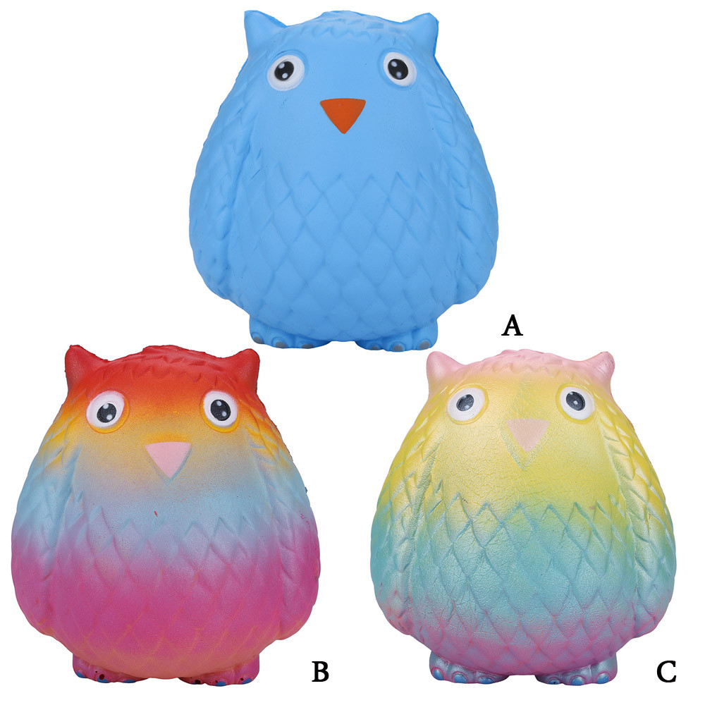 Lot Jumbo Squishy Rainbow owl Super Soft Slow Rising Squeeze Toy Pressure Relief Kids Toys