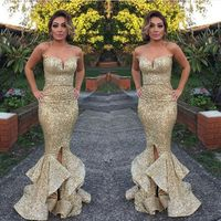 Sexy Gold Sequins Mermaid Bridesmaid Dresses 2015 Sweetheart Zipper Back Gold Maid of Honor Dress Wedding Party Dress