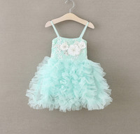 2016 Baby Girls Sweet Ball Lace Summer Sling Dresses Princess Kids Cute Clothing Kids Minit Green
