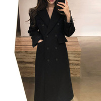 2019 autumn and winter new fashion slim woolen coat female long section black woolen coat
