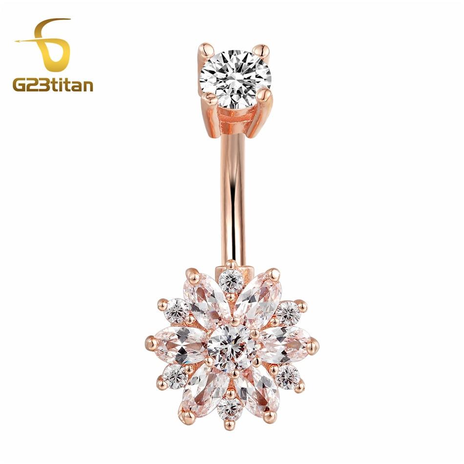 G23titan Double Side Crystals Flower Navel Ear Jewelry 14G Steel Ear Plug Earring Belly Bar Belly Nombril Piercing Body Jewelry