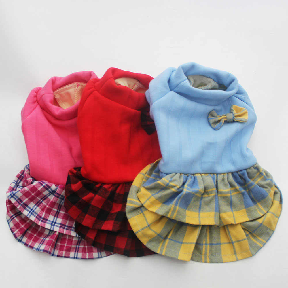 Dog Pet Dress Hoodie Shirt Cat Puppy Shirt Sweater Spring Clothes Plaid&Bow Design 3 Colours 5 Sizes