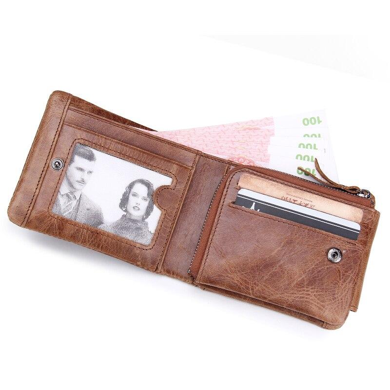 f868140ee20f Genuine Crazy Horse Leather Men Wallets Vintage Trifold Wallet Zip Coin  Pocket Purse Cowhide Leather Wallet