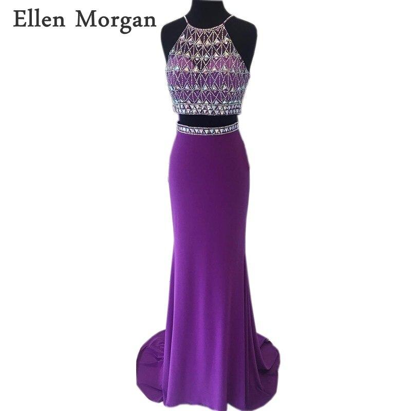 Purple 2 Pieces Mermaid Prom Dresses For Women Wear 2018 Beaded