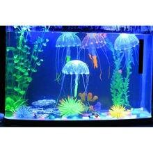Прекрасный силиконовый мини размер Медузы стиль плавать светящийся эффект аквариума аксессуары для аквариума Декорации для аквариума декор