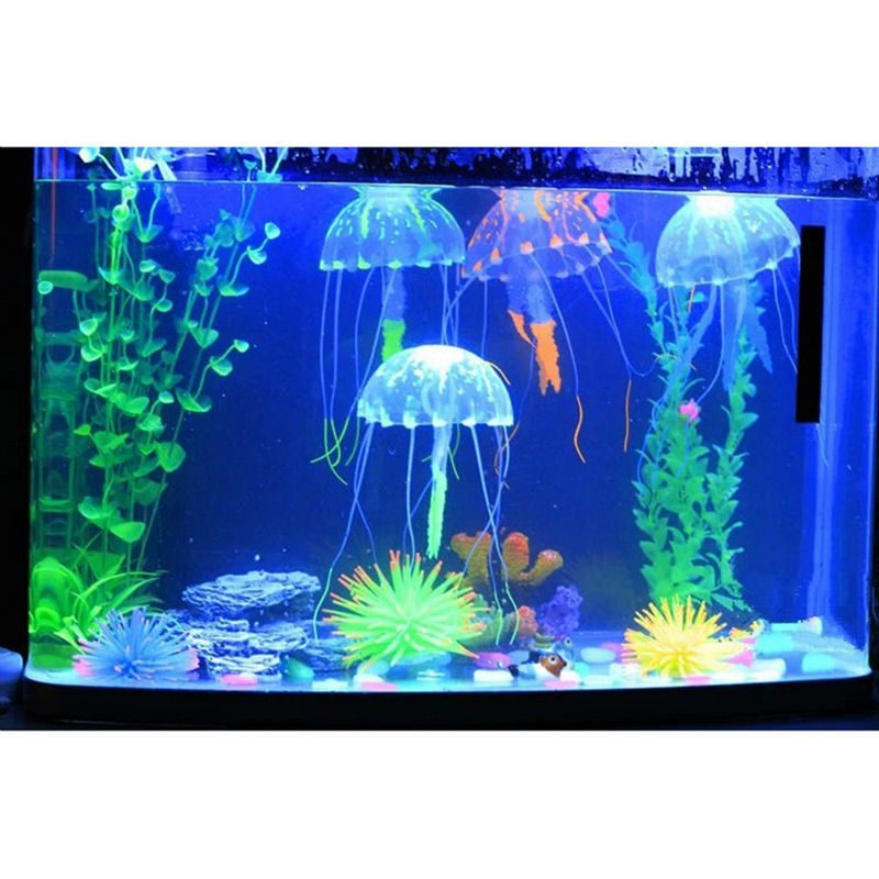 Lovely silicone mini size jellyfish style swim glowing for Cheap fish tank decorations