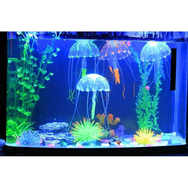 Lovely silicone mini size jellyfish style swim glowing for Aquarium jellyfish decoration
