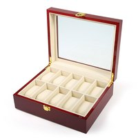 2017 Hot 10 Grids Watch Display Box Red Wooden Watch Box Transparent Skylight Watch Storage Box With Lock Watch Case Box
