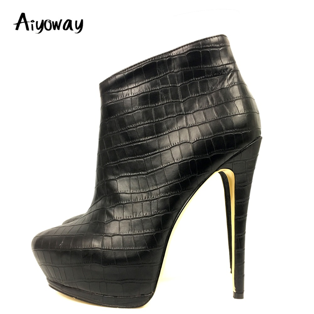 Aiyoway Sexy Women Ladies Platform High Heel Ankle Boots Autumn Winter Party Dress Booties Crocodile Pattern Black US Size 5~14 все цены