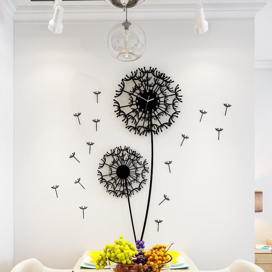3d настенные часы стикеры Одуванчик цветок часы домашний декор Diy гостиная Saat часы обои Saati украшения дома интимные аксессуары 5K52