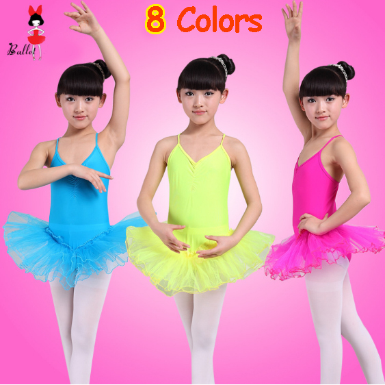New 2015 Cheap 8 Colors Green Yellow White Purple Red Blue Pink Spadex Child Baby Toddler Kids Girls Ballet Dancewear Dress