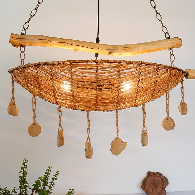 Luo Dankai Antike Rattan Kreative Pendelleuchte Sdost Theme Restaurant Wohnzimmer Dekorative Holz Lampe Ya72827