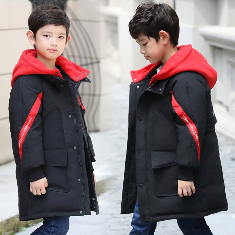 Boy's down jacket in the long section 2018 new Korean version of the thickening children's white duck down thick coa 2017 winter down jacket male korean version of self cultivation hooded thick in the long fashion trend of youth style downjacket